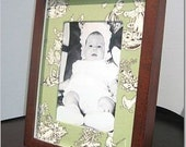 Sage Green and Chocolate Toile Photo Mat for 5x7 Picture