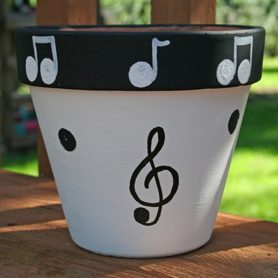 items similar to music 6 inch hand painted flower pot free. Black Bedroom Furniture Sets. Home Design Ideas