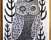 NIght owl- Silver- 6x8 Handprinted Art Print
