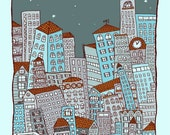 nighttime In the City -blue - Handprinted art print