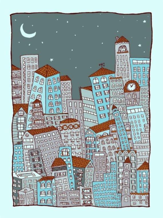 nighttime In the City -blue - Handprinted art print