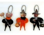 Vintage Style Chenille Halloween Ornaments - Halloween Primitives