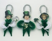 Chenille St. Patrick's Day Ornaments - Green and White