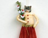 Spun Cotton Cat Valentine's Day Ornament - Cat Christmas Ornament - Made to Order