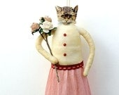 Shabby Chic Home Decor - Spun Cotton Cat Ornament - Made to Order