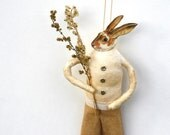 Bunny Rabbit Spun Cotton Ornament - Spring Home Decor - Made to Order