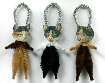 Holiday Decor Cat Ornaments - Handmade Christmas Tree Ornaments - Victorian Calico Cats