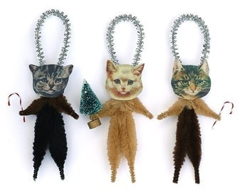 Cat Christmas Tree Ornaments - Stocking Stuffer Under 25 - Pet Lover Hostess Gift