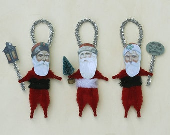 Christmas Ornaments - Chenille Ornaments - Vintage Style Santas