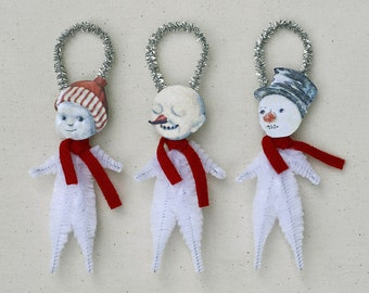 Snowman Christmas Ornaments - Handmade Holiday Ornaments - Under 25 Chenille Ornaments