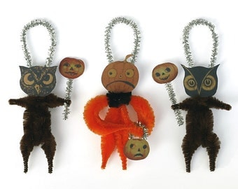 Halloween Party Decorations - Primitive Halloween Chenille Ornaments