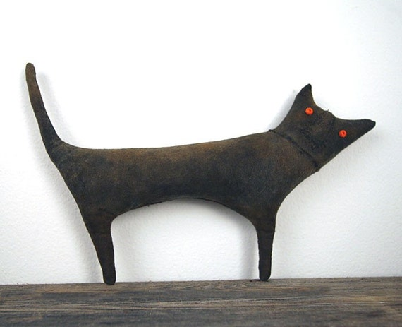 Halloween Primitive Black Cat Doll - MADE TO ORDER