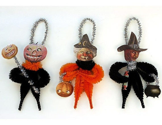 Vintage Style Chenille Halloween Ornaments - Halloween Primitives
