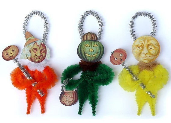 Halloween Decoration - Halloween Primitive Chenille Ornaments