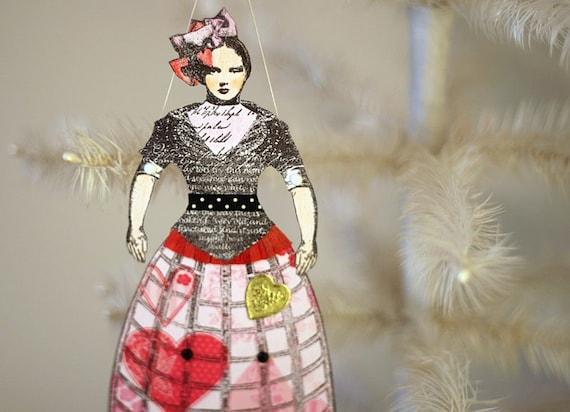 Romantic Victorian Inspired Paper Doll Valentine Ornament