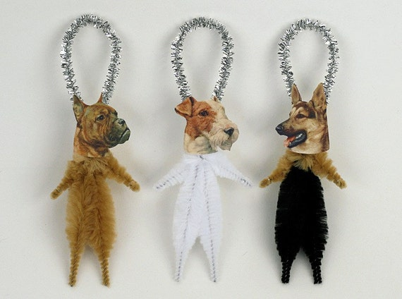 Dog Ornaments - Handmade Chenille Holiday Ornaments - Pet Lover - German Shepard, Boxer, Fox Terrier