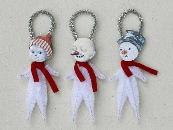 Snowman Christmas Ornaments - Handmade Holiday Ornaments - Under 25 Chenille Ornaments