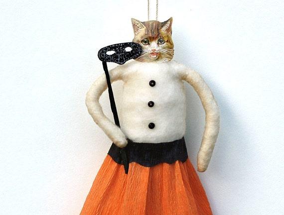 Spun Cotton Halloween Ornament - Folk Art Cat Ornament - Made to Order
