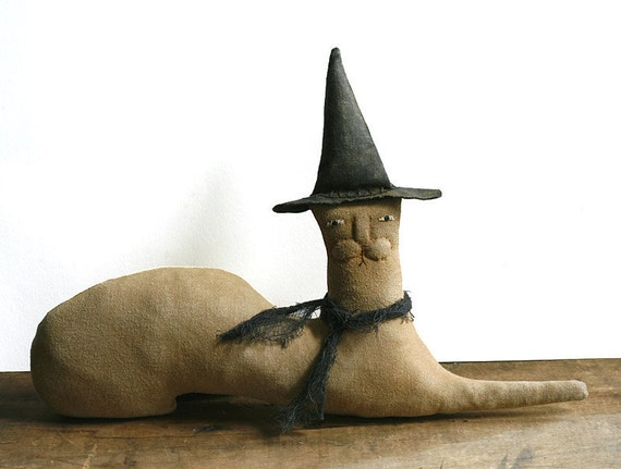 Primitive Doll - Handmade Witch Cat Folk Art Doll - Made to Order