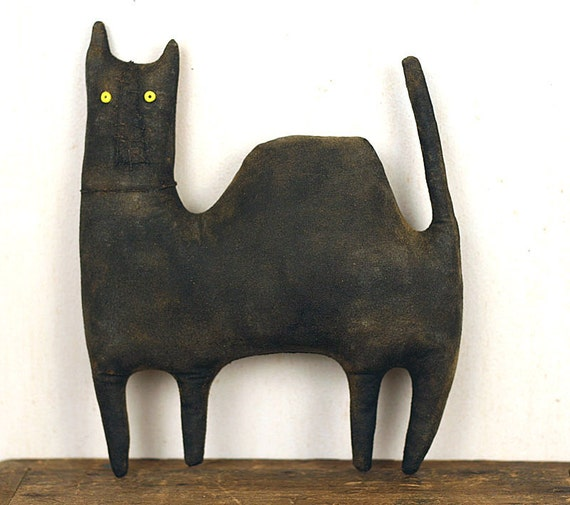 Black Cat Extreme Primitive Doll - Rustic Farmhouse Decor - Handmade Folk Art - MADE TO ORDER