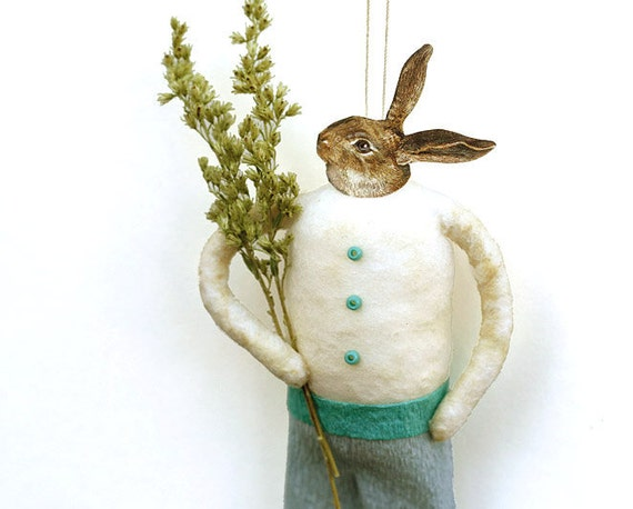 Spun Cotton Rabbit Ornament - Shabby Chic Easter Bunny - Spring Home Decor - Made to Order