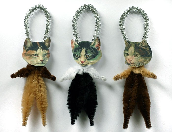 Victorian Calico Cat Retro Christmas Ornaments Stocking