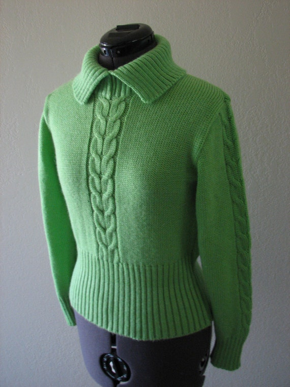 Vintage 70s lime green ski sweater