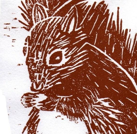 Squirrel Woodblock Print FREE SHIPPING
