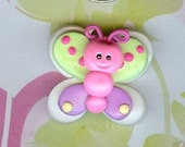 Summer Butterfly-Polymer Clay Bow Center or Bead