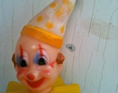 Quirky Yellow Plastic Clown Cupcake Topper Adjustable Birthday Vintage Kitsch Retro Weird Play Kid Child Ring