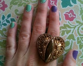 Vintage Adjustable Copper Brass Plastic Heart Button Filigree Ring Sweet Dainty Love Corazon Valentine