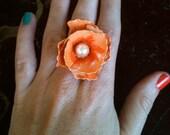 OOAK Peach Orange Pearl Vintage Flower Ring