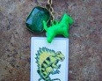 Fun Vintage Green Scotty Dog and Dimetrodon Pin