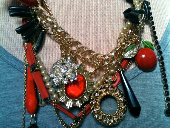 Statement Necklace Red Ribbon Rhinestone Bling Prom Large Gold Chain Pearl Necklace Dainty Chain Paperclip Apple Chandelier Gun Necklace