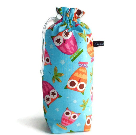 Spindle Bag, Padded Drawstring Bag - Owls on turquoise