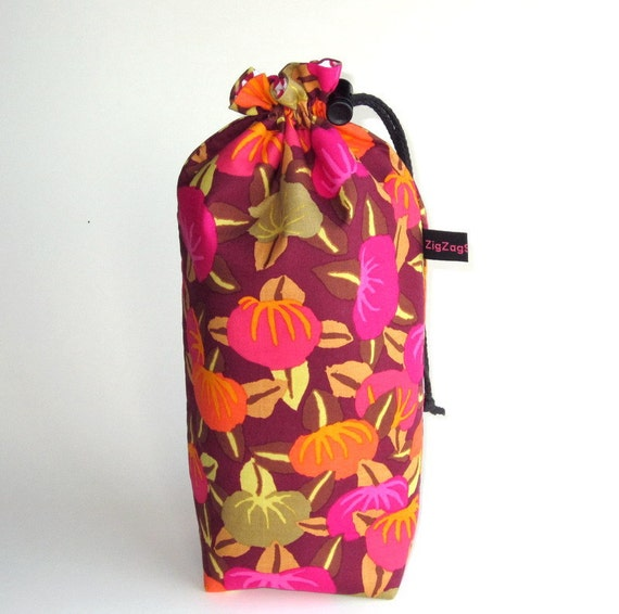Spindle Bag, Padded Drawstring Bag - Persimmon