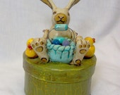 OOAK Easter bunny and baby chicks candy box