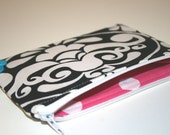 Black and White Damask Zippered Coin Purse