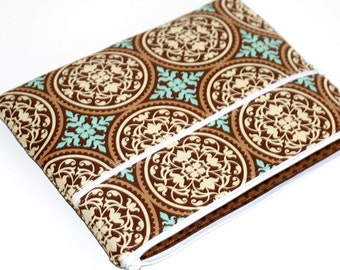 CLEARANCE iPad Case, Zippered, Brown and Aqua Print