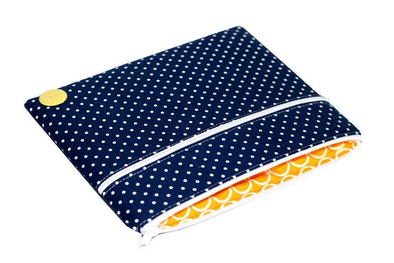 SALE iPad Case, iPad 2 Cover, Zipper Navy Dots