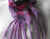 Nuno Felted Silk and Wool Scarf -Funky Octopus -hand dyed silk chiffon,merino wool ,lilac purple, hot pink and black