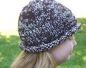 Hand knit wool hat for men women and teens in chocolate brown warm winter fashion accessory
