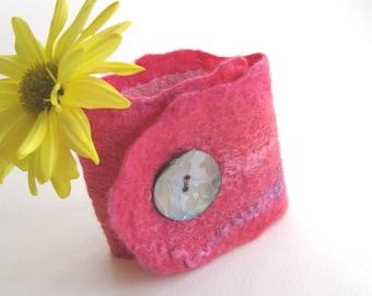 Nuno Felted Cuff Bracelet for Women Winter  Fashion textile art Pretty Pink Fiber Bracelet