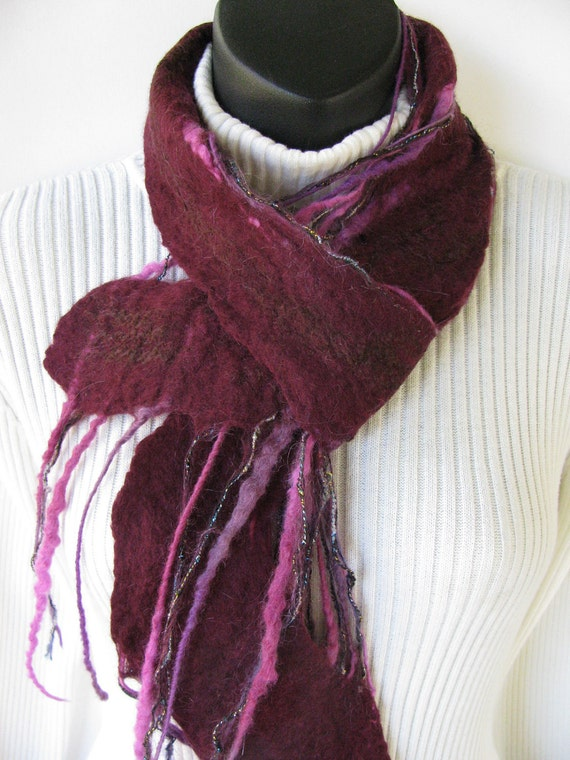 Raspberry Red and Chocolate-Hand felted merino wool swirl scarf-winter fashion accessory womens scarves