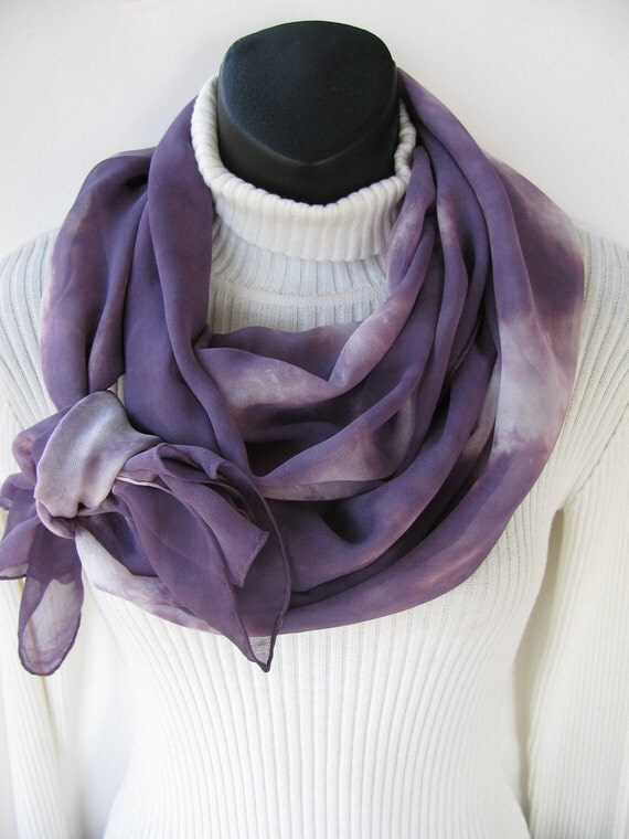 Eco Dyed Luxurious Silk Chiffon Scarf  for Women-Purple Clouds- Sheer Fashion Spring  fashion Purple scarf