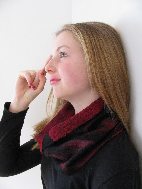 Hold for Noor-Nuno Felted Silk and Wool Cowl for Women -Maroon cowl scarf and Black cowl scarf-Womens Winter and Office Fashion Accessory
