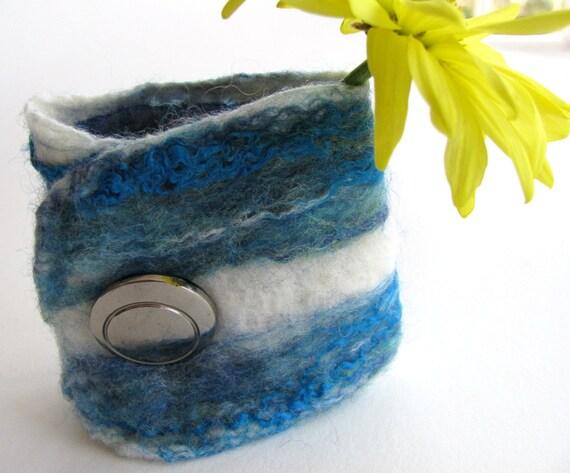 Nuno felted cuff bracelet textile jewelry for women Blue Moon