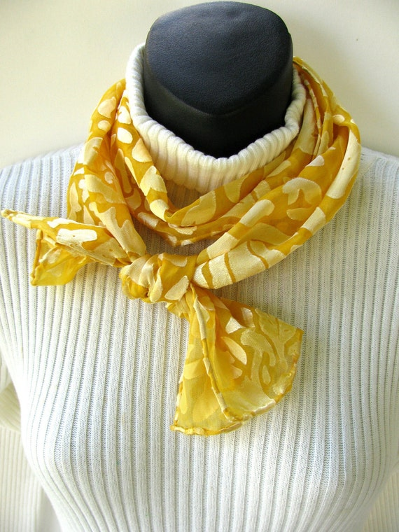 Buttercup Yellow-Hand Dyed Silk Devore Scarf for Women Spring and Summer Fashion Accessory