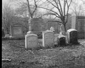 Graves on the Hillside Riverside Cemetery Black and White Photograph