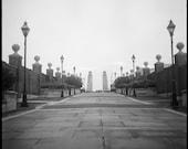 Photo Street Scene Bridge and Lamps in Philadelphia Film Black and White